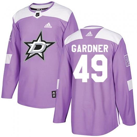 Rhett Gardner Dallas Stars Men's Adidas Authentic Purple Fights Cancer Practice Jersey