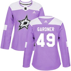 Rhett Gardner Dallas Stars Women's Adidas Authentic Purple Fights Cancer Practice Jersey