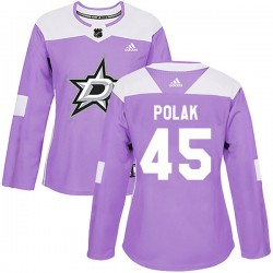 Roman Polak Dallas Stars Women's Adidas Authentic Purple Fights Cancer Practice Jersey