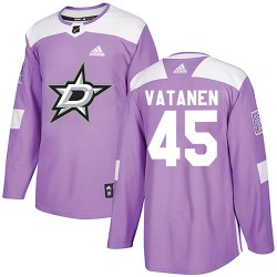Sami Vatanen Dallas Stars Men's Adidas Authentic Purple Fights Cancer Practice Jersey