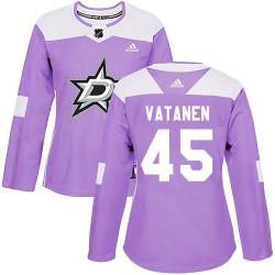 Sami Vatanen Dallas Stars Women's Adidas Authentic Purple Fights Cancer Practice Jersey