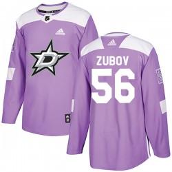 Sergei Zubov Dallas Stars Men's Adidas Authentic Purple Fights Cancer Practice Jersey