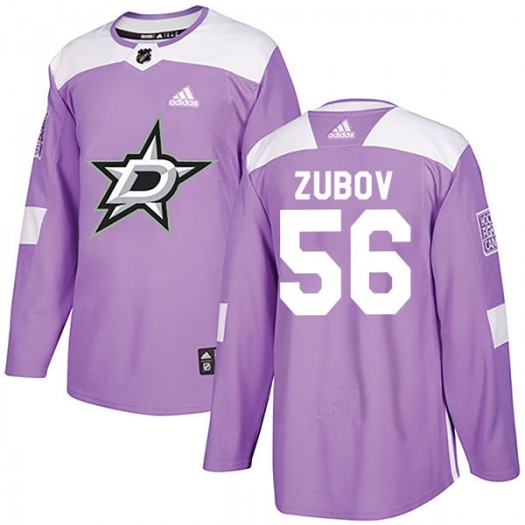 Sergei Zubov Dallas Stars Youth Adidas Authentic Purple Fights Cancer Practice Jersey