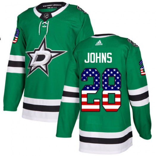 Stephen Johns Dallas Stars Men's Adidas Authentic Green USA Flag Fashion Jersey