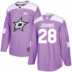 Stephen Johns Dallas Stars Men's Adidas Authentic Purple Fights Cancer Practice Jersey
