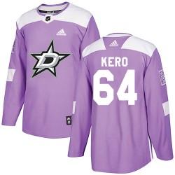 Tanner Kero Dallas Stars Men's Adidas Authentic Purple Fights Cancer Practice Jersey