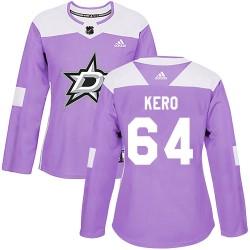 Tanner Kero Dallas Stars Women's Adidas Authentic Purple Fights Cancer Practice Jersey