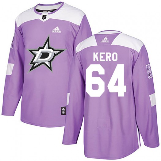 Tanner Kero Dallas Stars Youth Adidas Authentic Purple Fights Cancer Practice Jersey