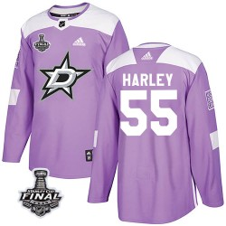 Thomas Harley Dallas Stars Youth Adidas Authentic Purple Fights Cancer Practice 2020 Stanley Cup Final Bound Jersey
