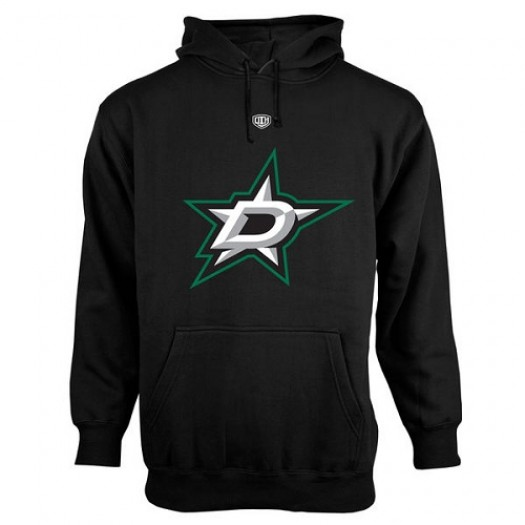 Dallas Stars Men's Black Old Time Hockey Big Logo with Crest Pullover Hoodie