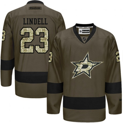 Esa Lindell Dallas Stars Men's Reebok Authentic Green Salute to Service Jersey