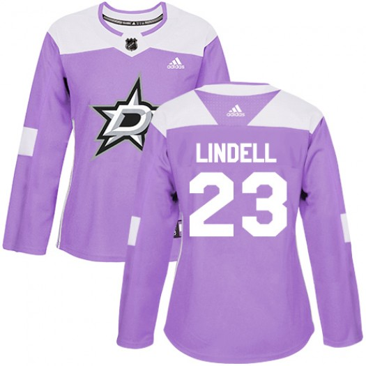 Esa Lindell Dallas Stars Women's Adidas Authentic Purple Fights Cancer Practice Jersey